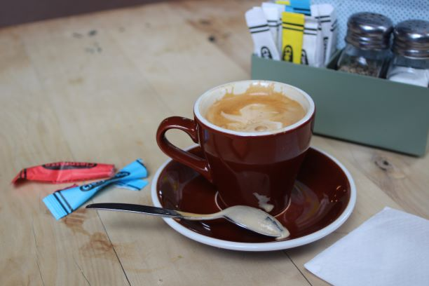 Notice the sugar at C1 Espresso comes in packets shaped like crayons.(photo: Brent Petersen)