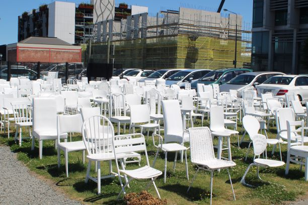 185 Empty Chairs, Christchurch, New Zealand (photo: Brent Petersen)