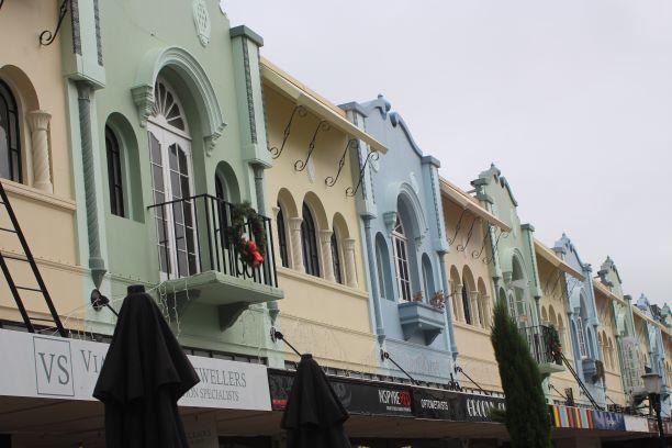 Spanish architecture along New Regent Street, Christchurch, New Zealand (photo: Brent Petersen)