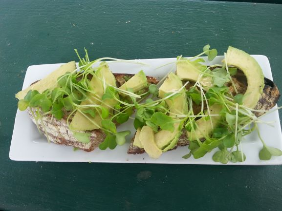 Avocado on toasted sourdough with fresh sprouts at Hanalei Bread Co., Kauai