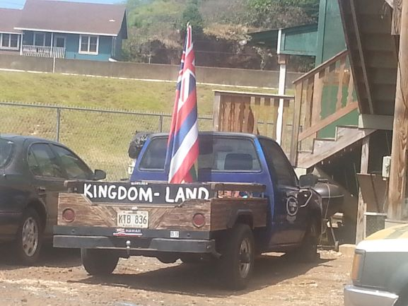 A truck in Hanapepe,Kauai with signs advocating for Hawaiian independence.