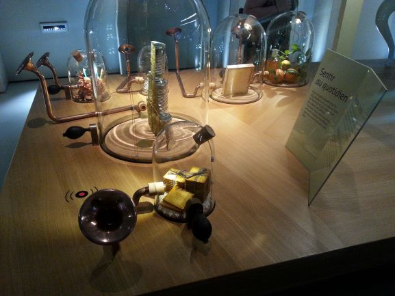 Some of the many olfactory stations at La Cite du Vin, Bordeaux, France
