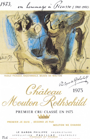 1973 wine label designed by Pablo Picasso from Château Mouton Rothschild