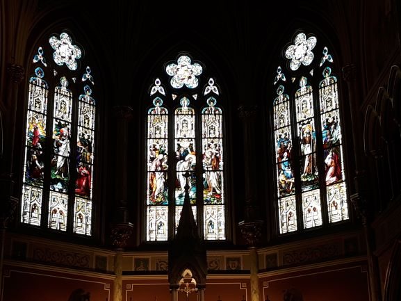 Stained glass at St. John's church, Savannah (photo: Brent Petersen)