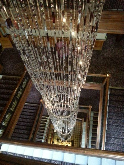 Chandelier at Grand Central Hotel is several floors tall (Photo: Brent Petersen)