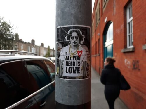 John Lennon actually has Irish Heritage. Spotted this sticker on a lamppost in Dublin  (photo: Brent Petersen)