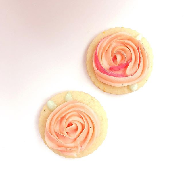Roses for last weekend's baby shower 🌹 it was my first time doing buttercream rosettes and it worked out pretty well!