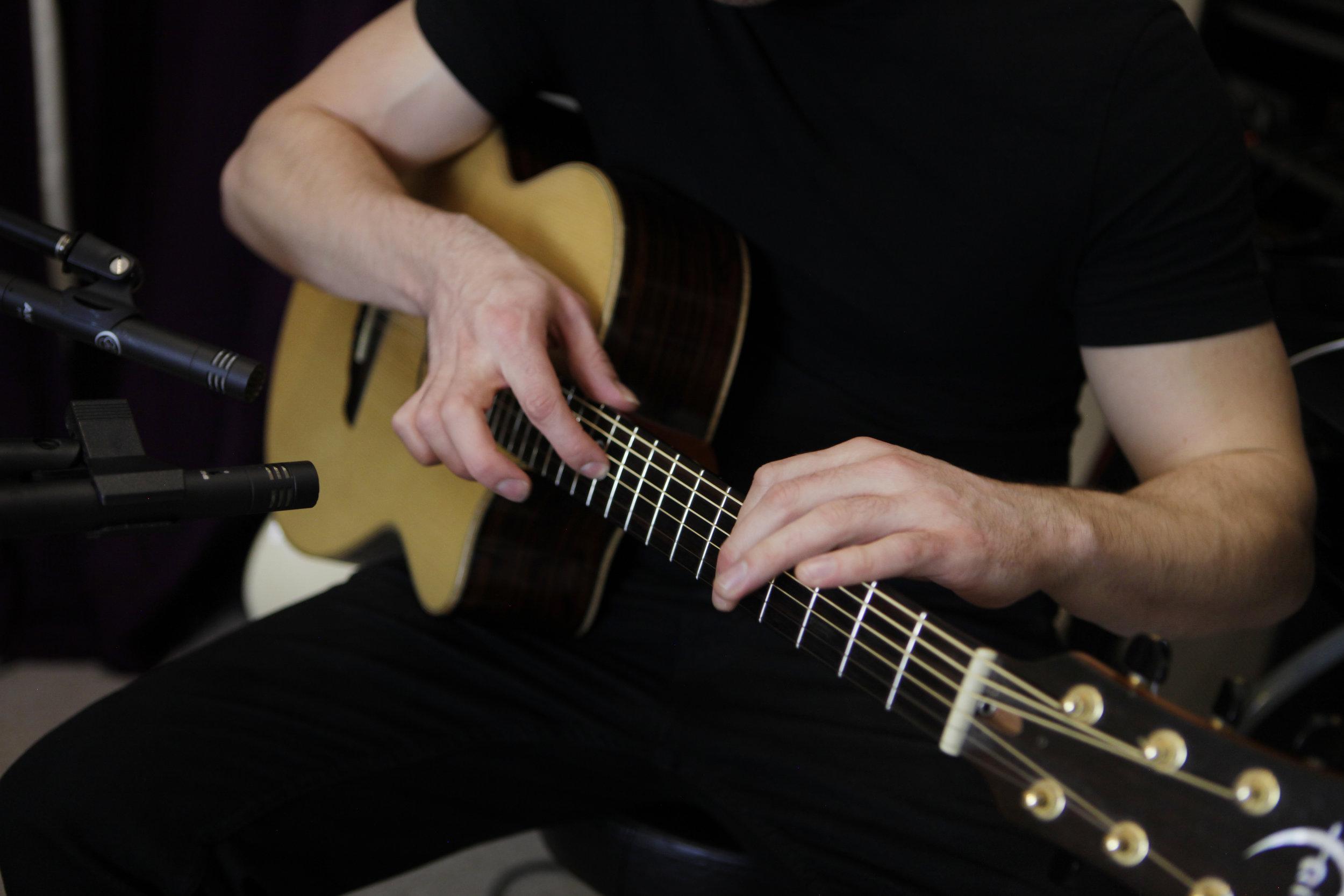 Patrick recording at his Canary Wharf studio