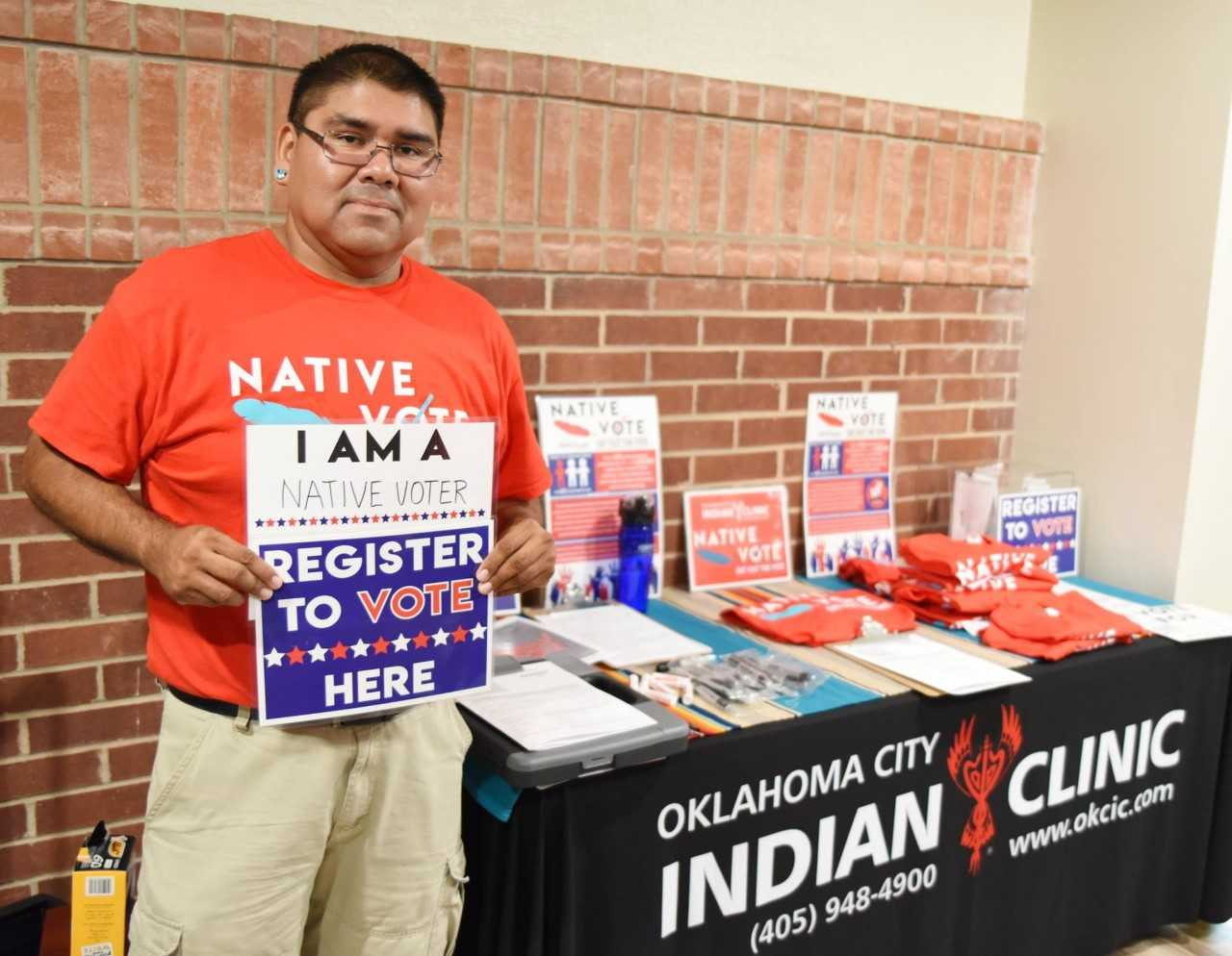 Showing Native voter pride at Oklahoma City Indian Clinic.