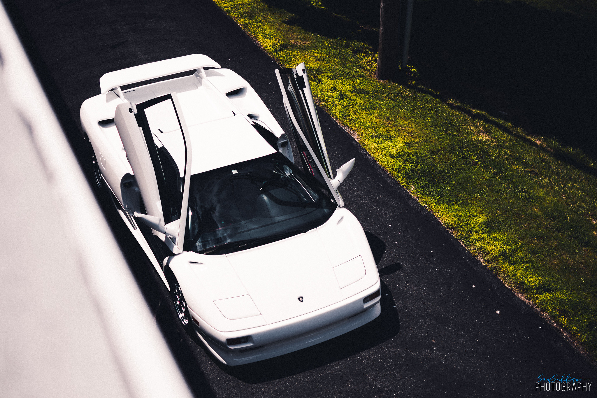 1991 White Lamborghini Diablo open doors