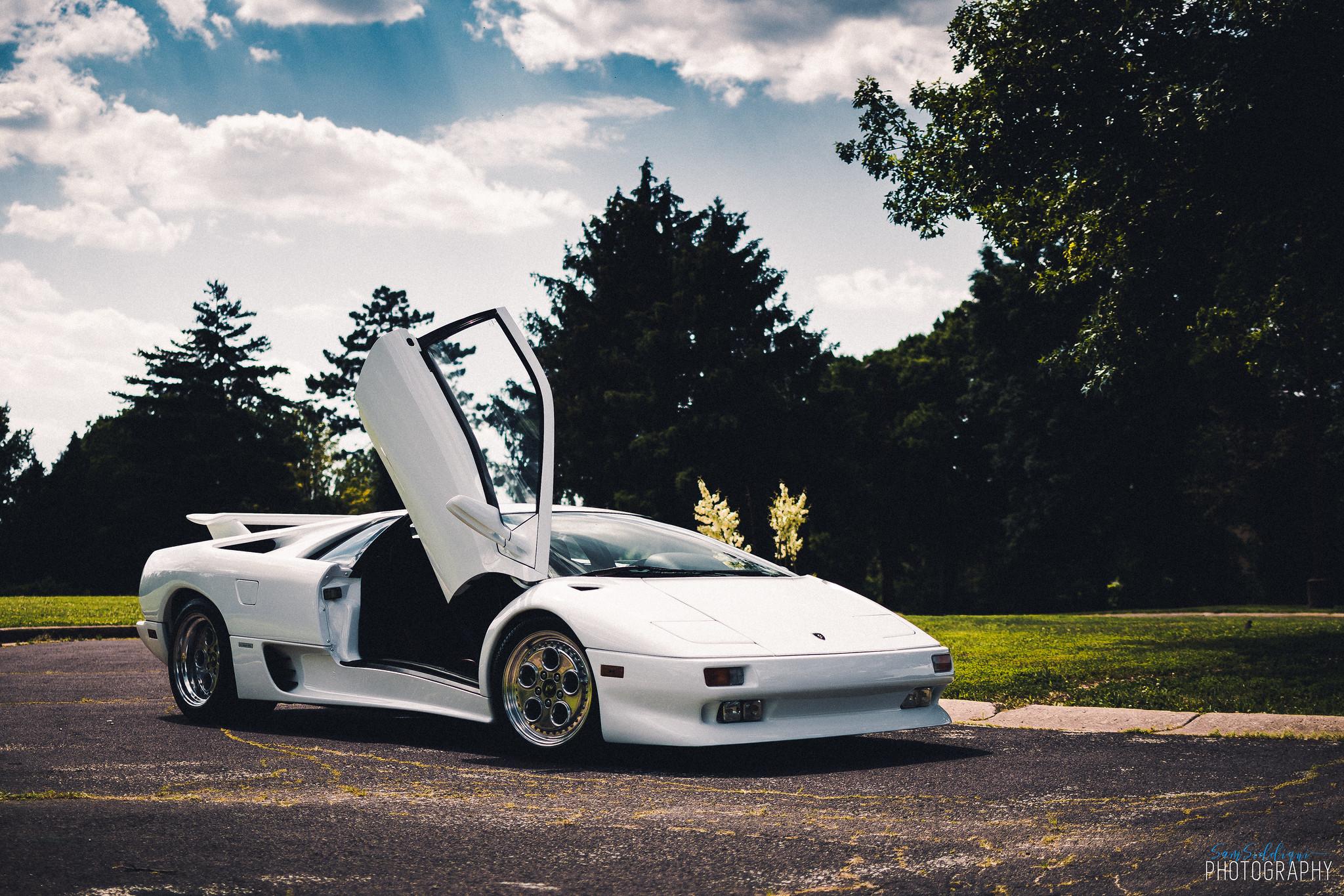 1991 White Lamborghini Diablo one open door