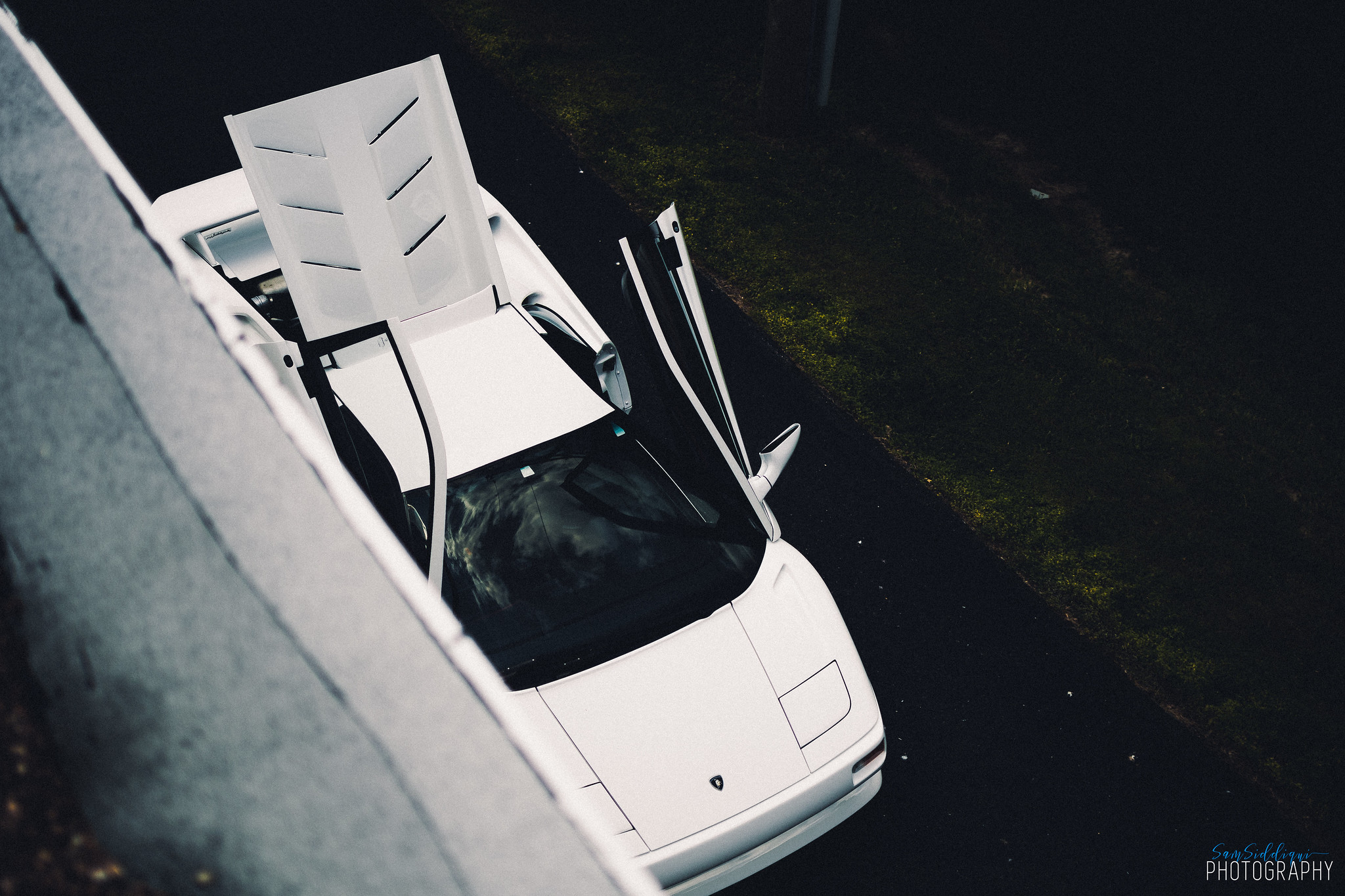 1991 White Lamborghini Diablo Open Doors and Roof