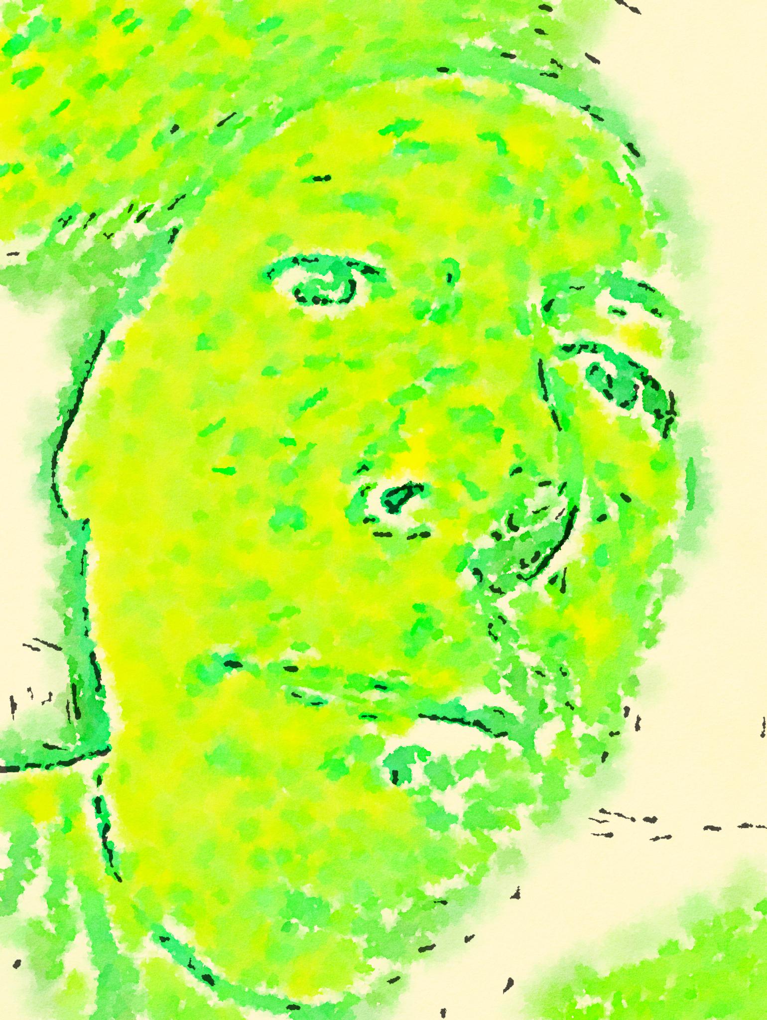 Acid Green Selfie (2019) digitally manipulated photo