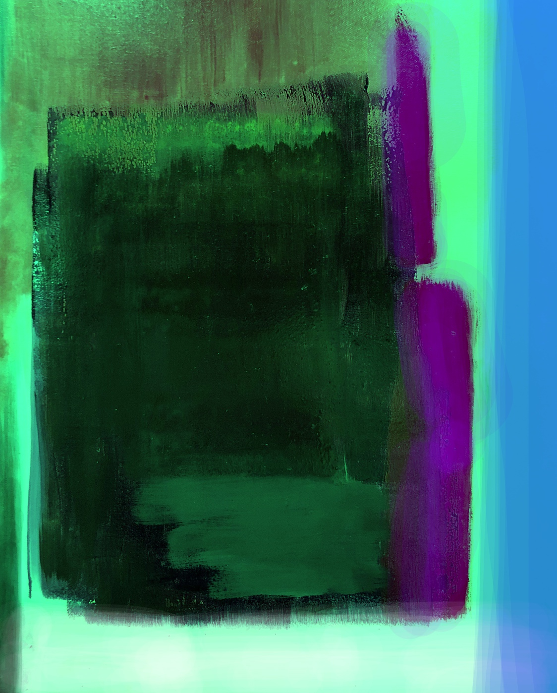 Green Shifted (2019) digital overlay on oil on canvas