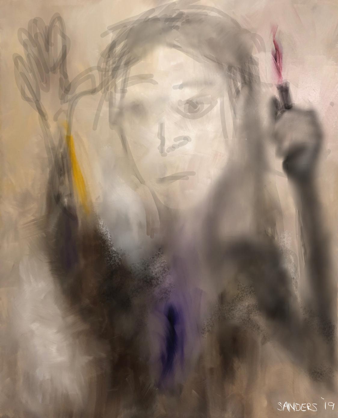 Lady of the Light (2019) digital overlay on oil on canvas