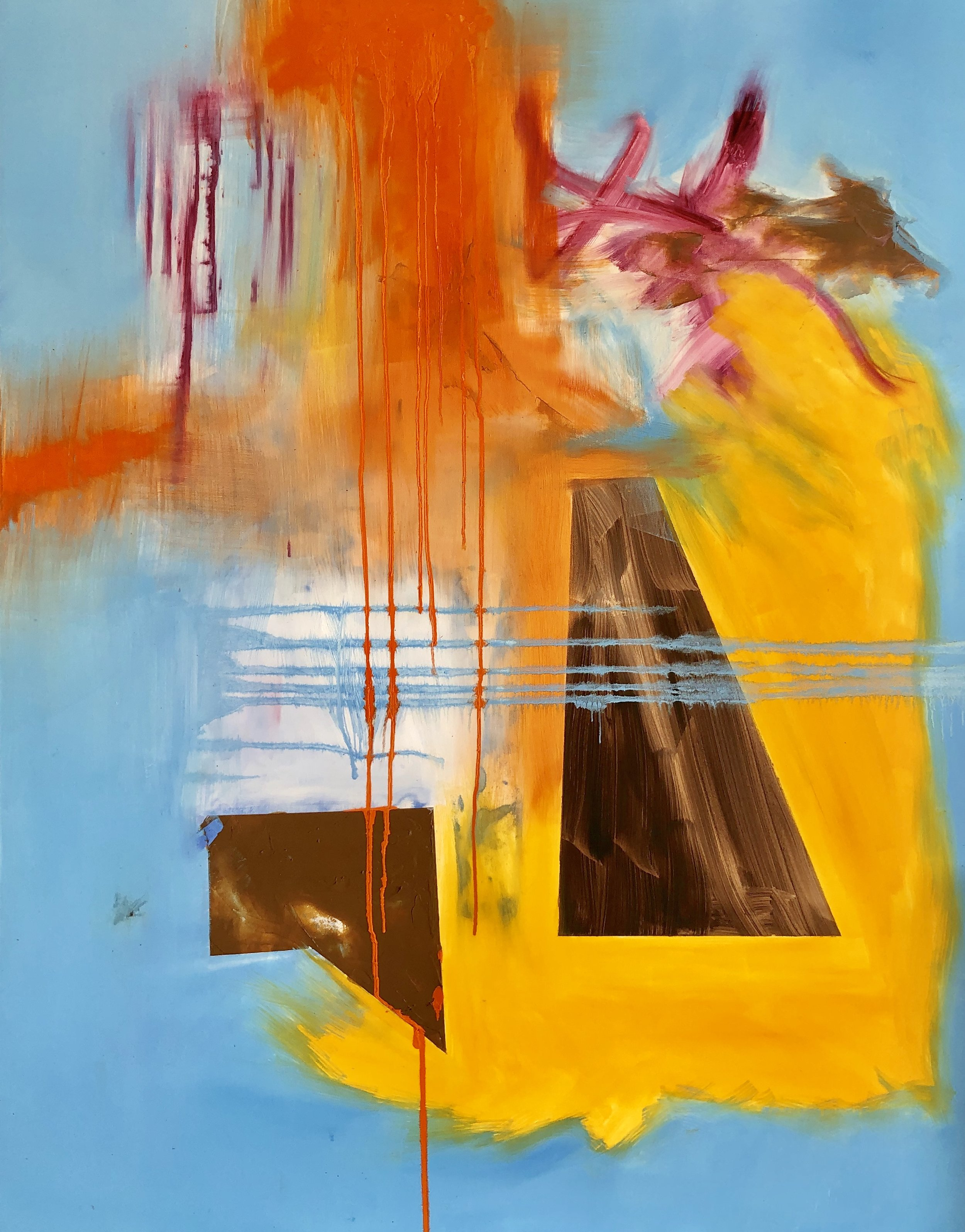 "Trapezoids #1 (2018) oil  & mixed media on canvas 48"" x 60"""