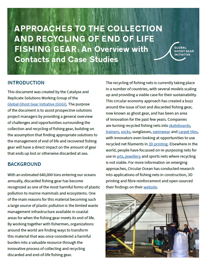 Approaches to the Collection and Recycling of End of Life Fishing Gear