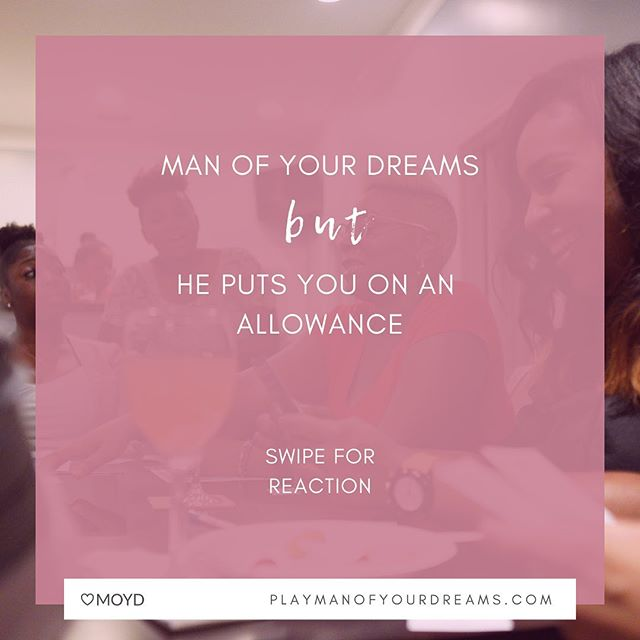 "Context is everything. In what scenario (if any) would you #sayyes to the man of your dreams BUT he kinda puts you on an allowance. . . Like, ""here babe, this is what you can spend this month"" kind of allowance. Does the amount matter? Or is it the principle? 👀 . . #manofyourdreams #moyd #gamenight #conversationstarter #bachelorette #loveandmarriage"