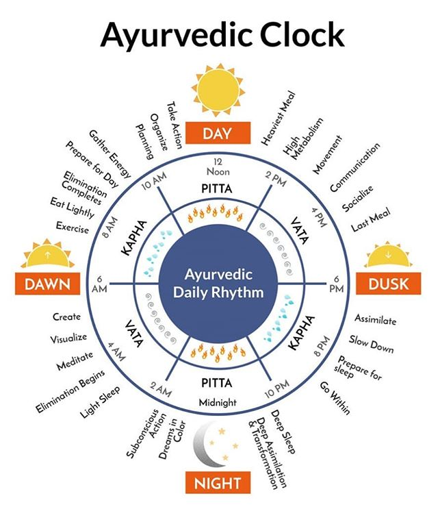 I love this Inforgraphic of the Ayurvedic clock, showing our strongest digestive peak between 10am - 2pm when we should be having our biggest meal of the day.  By aligning your daily rythms with natures rythms you set yourself up for thrive.  What is surprising or revealing to you about this infographic?  Let me know below 👇🏻