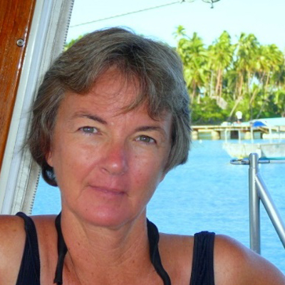 Gwen Hamlin - SV Tackless Too   USAGwen is a journalist who has applied her skills to the maritime world of blogging, co-founding the website for womenandcruising.com, and writing articles for journals, notably 77 in the Admiral's Angle in the sailing magazine Latitudes & Attitudes. Gwen started her sailing life when she did a dive course, fell in love with diving and went to live in the Virgin Islands for 13 years to operate a dive-sail charter business. She left with husband Don in 1999 to cruise full time for ten years on Tackless II, a CSY 44' cutter rigged sloop. They now sail on their catamaran, Tackless Too and continue to give advice on buying, refitting and setting sail on their website, www.thetwocaptains.com