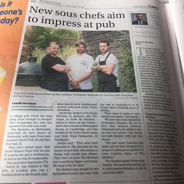 BREAKING NEWS:  Have you seen the news today?  Our chefs are featured in @buryfreepress this week. We are super excited to introduce @davidrichardpratt2019 and @chefsturman who have joined our Head Chef @chefdanrussell888 here at The Brewers.  The new menu has launched and we have a couple of place still available this weekend. Please give us a call if you would like to sample the amazing dishes these 3 talented chefs have prepared for you.  #localpub #chefsofinstagram #burystedmunds #breakingnews #freshfood #suffolk #instafood #quality #new #oneteamonedream