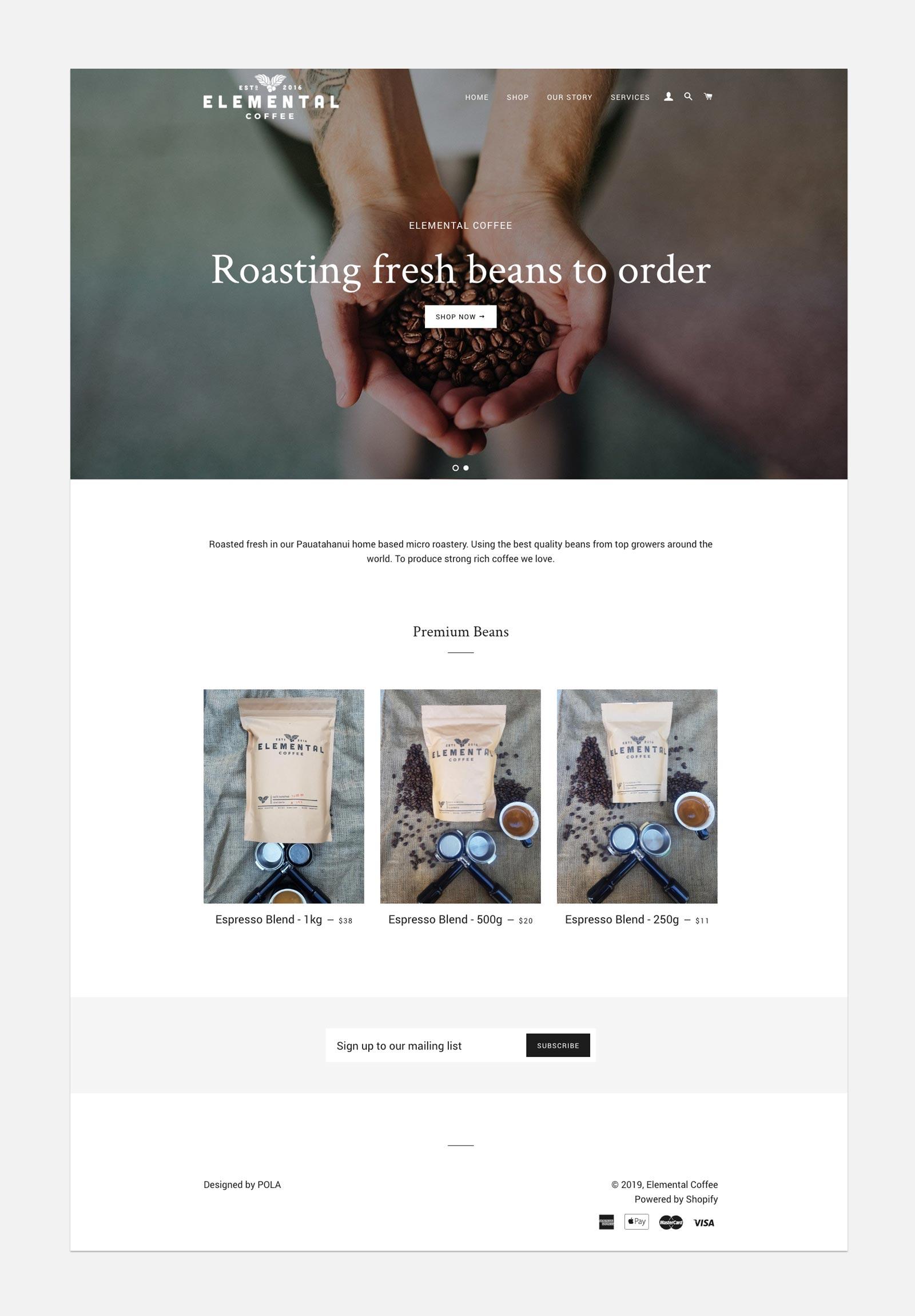 Elemental Coffee   Home page desktop view