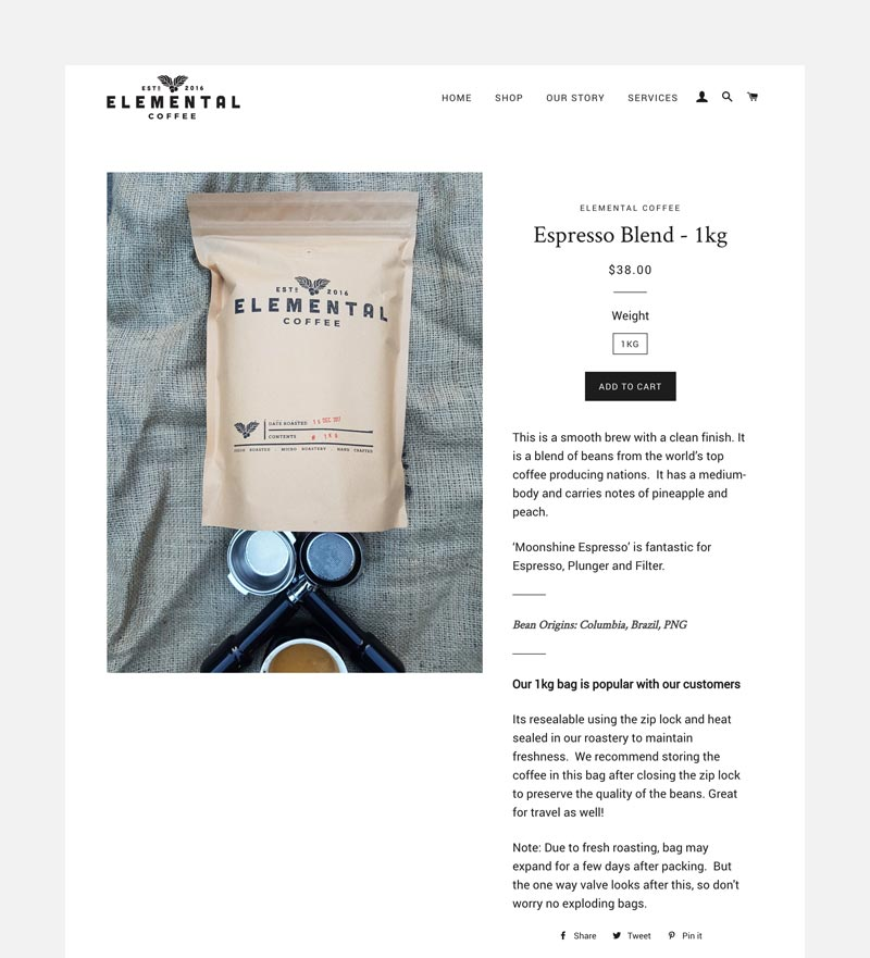 Elemental-coffee-product page
