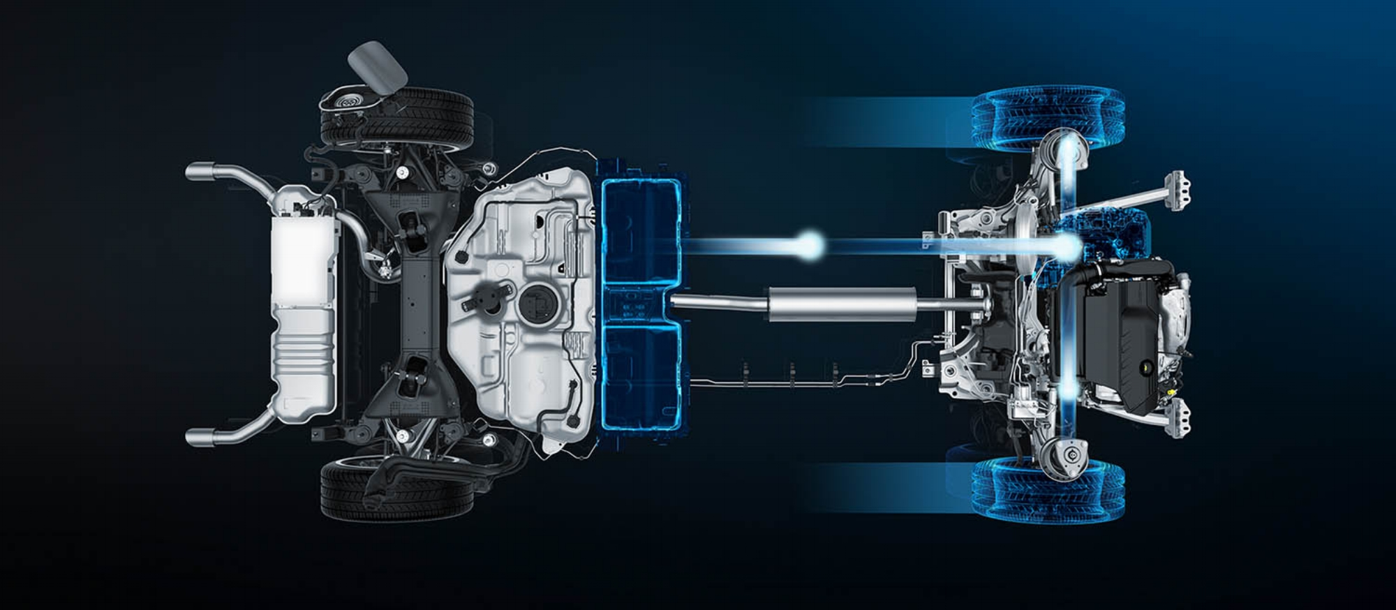 Central batteries feed front electric motor, for zero emission-running