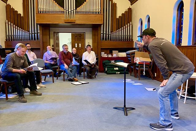 "Soprano view from yesterday's rehearsal for our season finale, ""With One Voice"". Serious concentration happening here! And an innovative dance-type move on the part of our Artistic Director. 😂🎶 #basses #baritones #tenors #serveharmony"