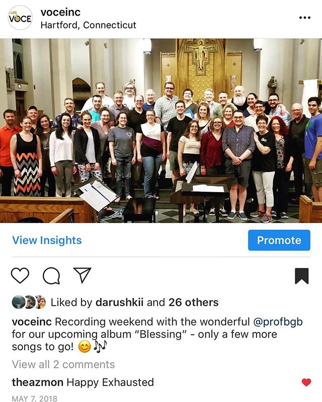 "Time sure does fly! Exactly one year ago, we were right in the middle of recording our latest album ""Blessing"" with @profbgb and @signumrecords and WE CAN'T WAIT FOR YOU TO HEAR IT. In the meantime, be sure to join us for the season's finale THIS SATURDAY in Hartford!! Details on our website 😍🎵"