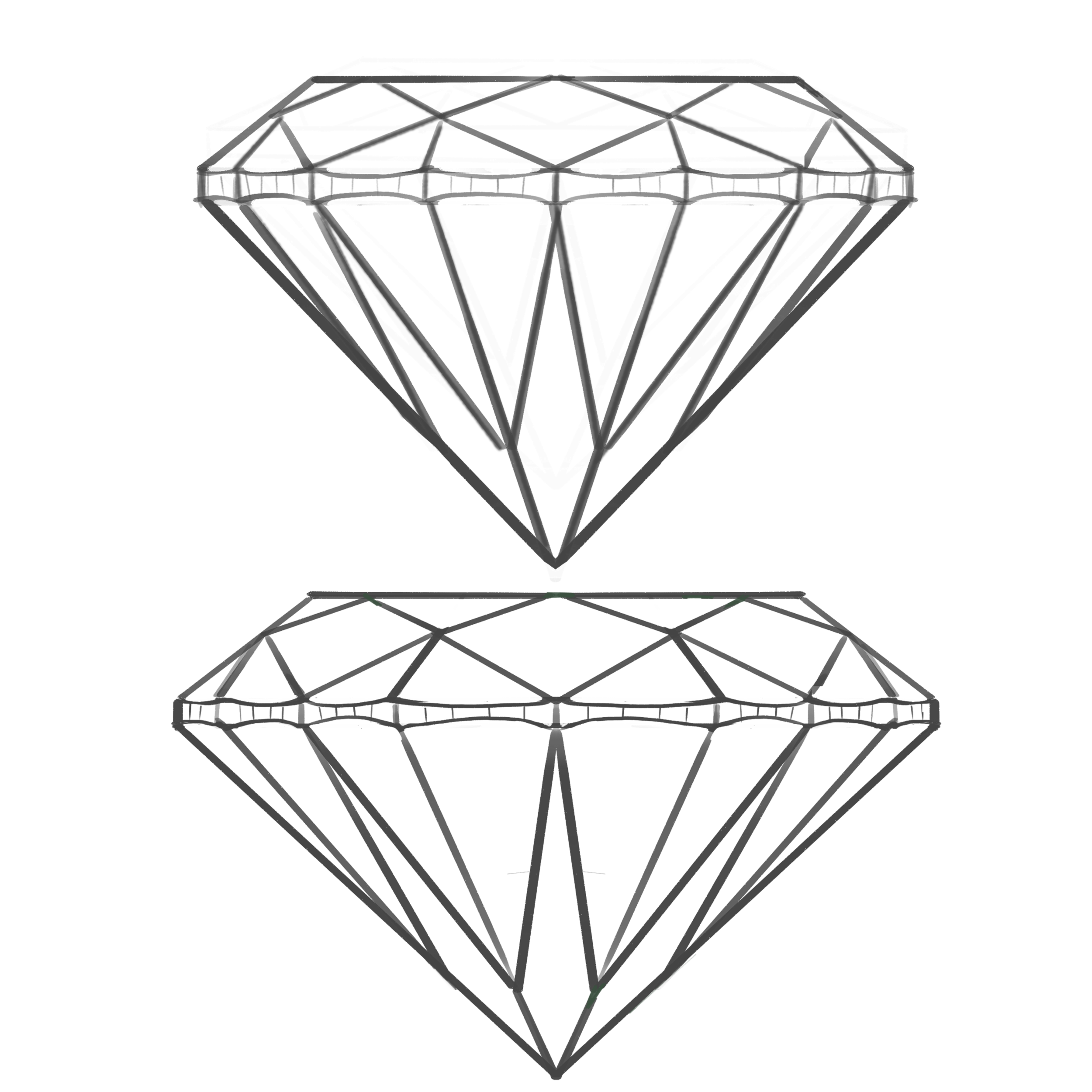 The stone on the bottom is closer to ideal proportions for a brilliant style diamond