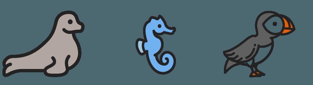Seal, sea horse, puffin