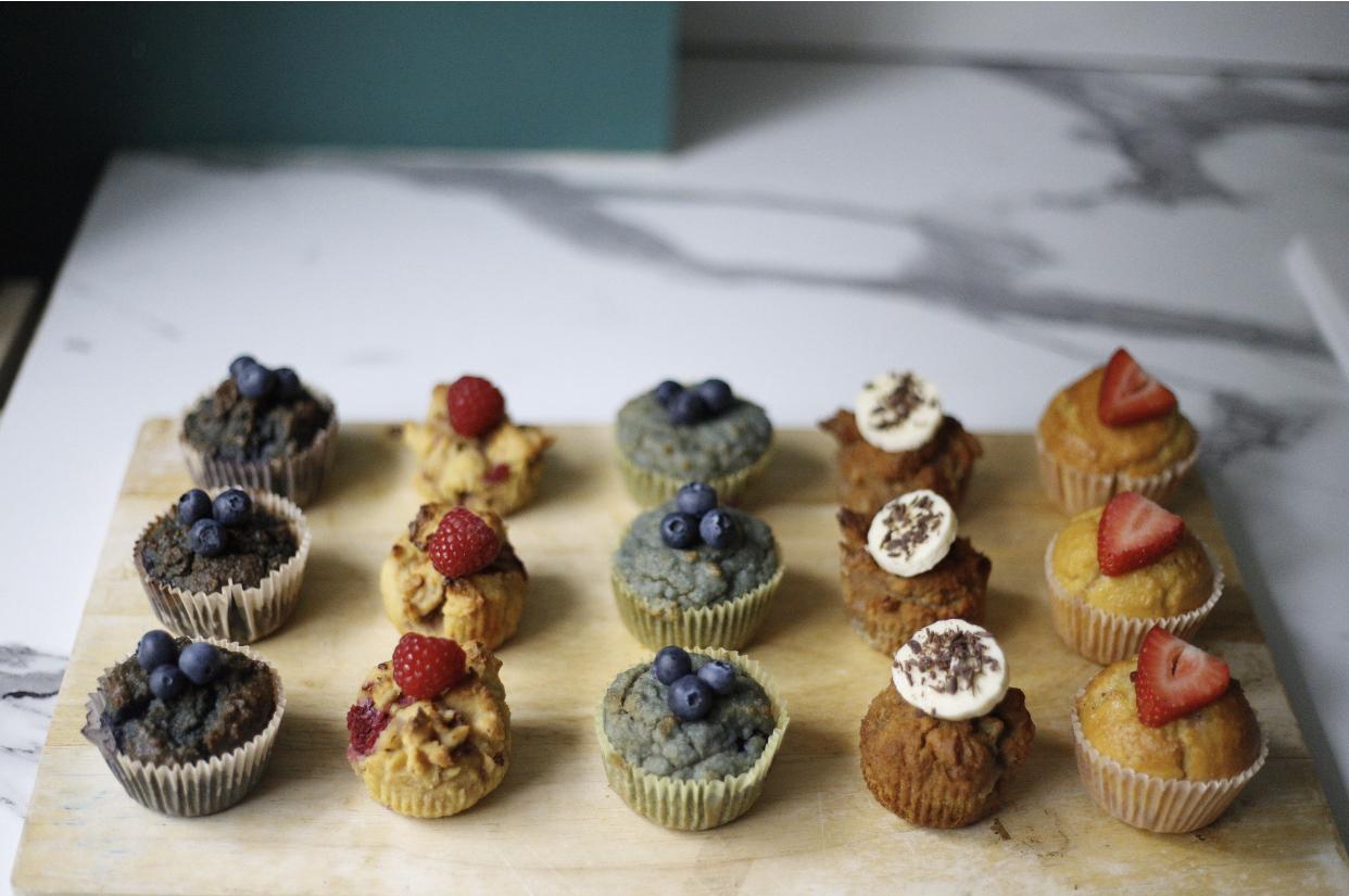blackberry, raspberry, blueberry, banana + coffee, strawberry cupcakes