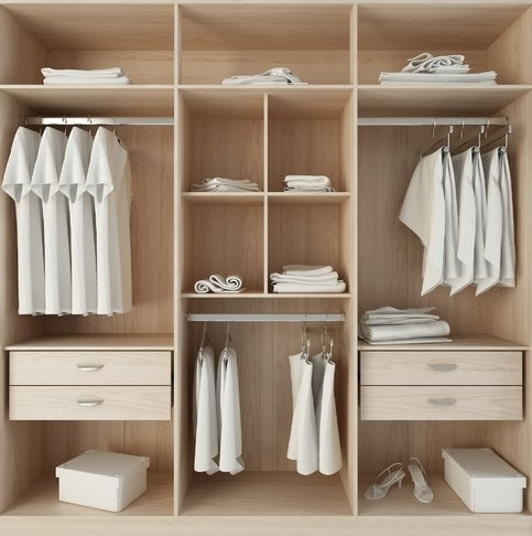 Melamine: - Proper care of your new closets will help you get the most out of them. Everyday cleaning should be done with mild soap and warm water or a mild household all-purpose spray cleaner. Use only enough moisture to get the job done; excessive moisture or soaking can cause the wood to swell and ultimately damage your closet. For scuffs that are resistant to water based cleaners, a cloth dampened with a spot of mineral spirits will often do the trick; however, the continued use of solvent cleaners is not recommended. Never use acidic or alkaline cleaners, abrasive cleaners, or bleach.