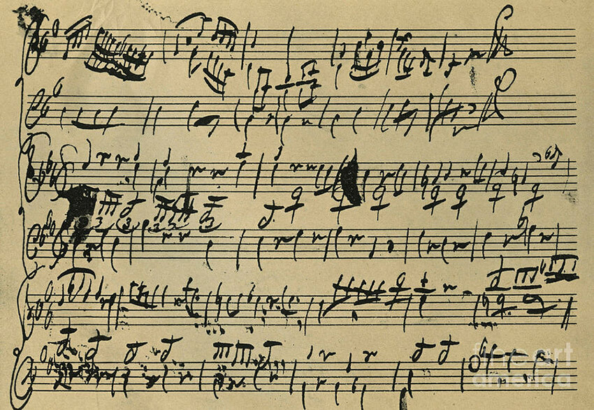 Mozart Score Written When 8 Years Old  is a drawing by Wolfgang Amadeus Mozart