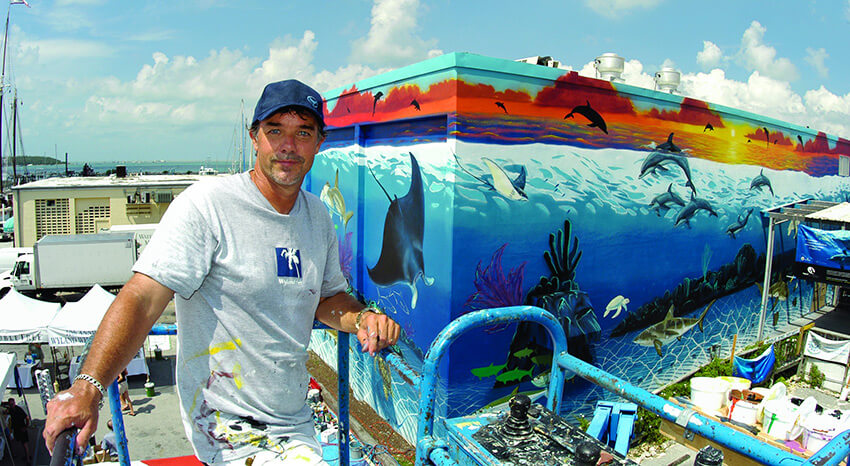 Marine Artist Wyland working on a recent mural project