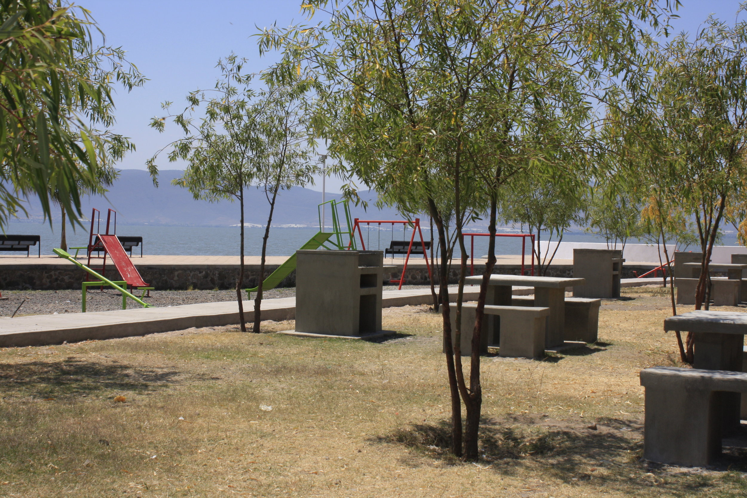 The boardwalk in San Juan Cosala doubles as a park and playground