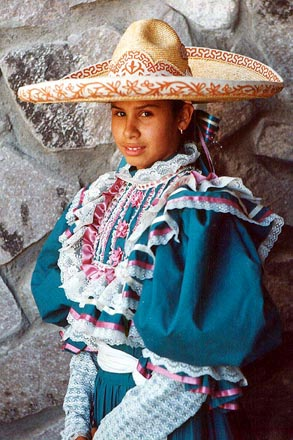 The  escaramuza  or woman charro, rides sidesaddle in parades and performances.