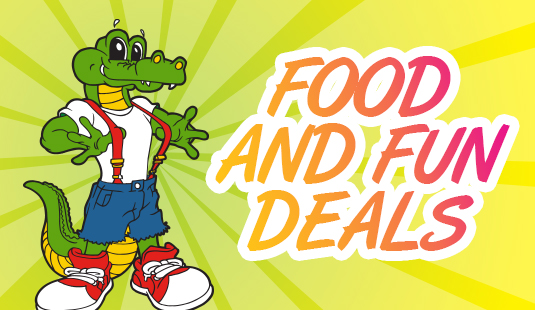 Play and dine with Andy Alligator's Food and Fun deals!