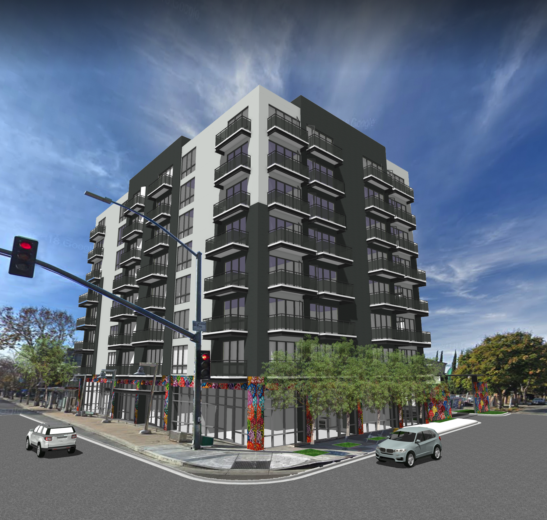 3D Rendered View - corner of Santa Clara and 24th Streets -