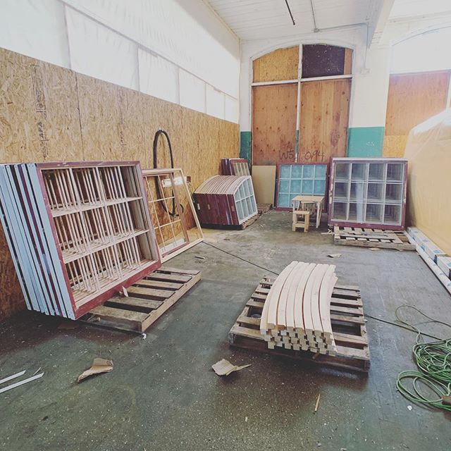 When you've got several hundred wood windows to replicate, the easy thing to do is just build a wood shop on site and fabricate them. #affordablehousing #historicpreservation #architecture #woodwindows