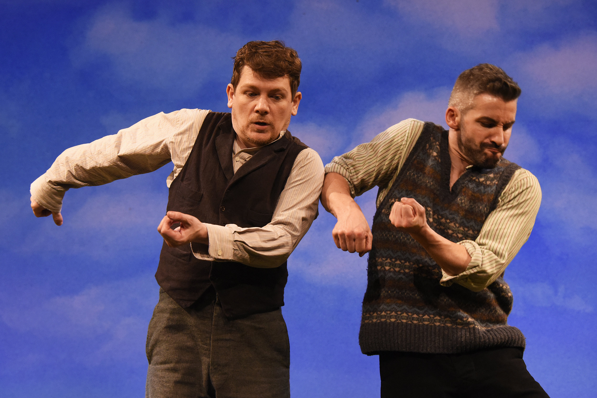 Kevin Trainor and Owen Sharpe as Charlie and Jake riverdancing (or are they cutting turf?)