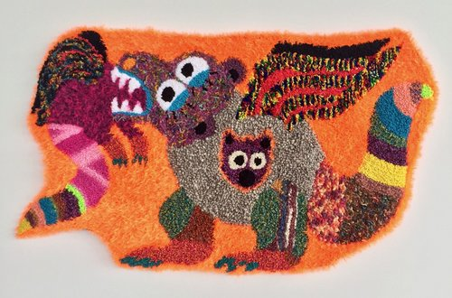 "Eats Its Young   Wool, Acrylic, Polyester, Nylon, Burlap  38"" X 64""  2017"