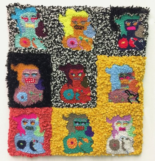 """9 Angry Babes   Wool, Acrylic, Polyester, Burlap  18"""" X 18""""  2017"""