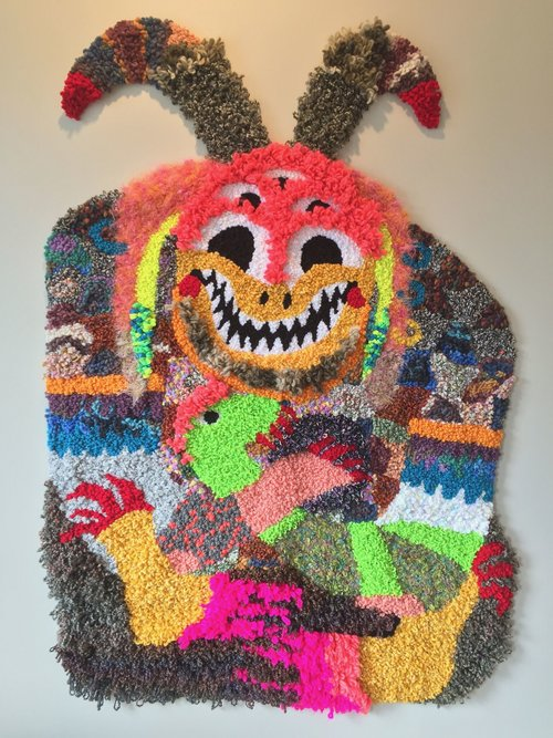 "The Hybrid Kid   Wool, Acrylic, Cotton, Polyester, Burlap  66"" X 47""  2017"