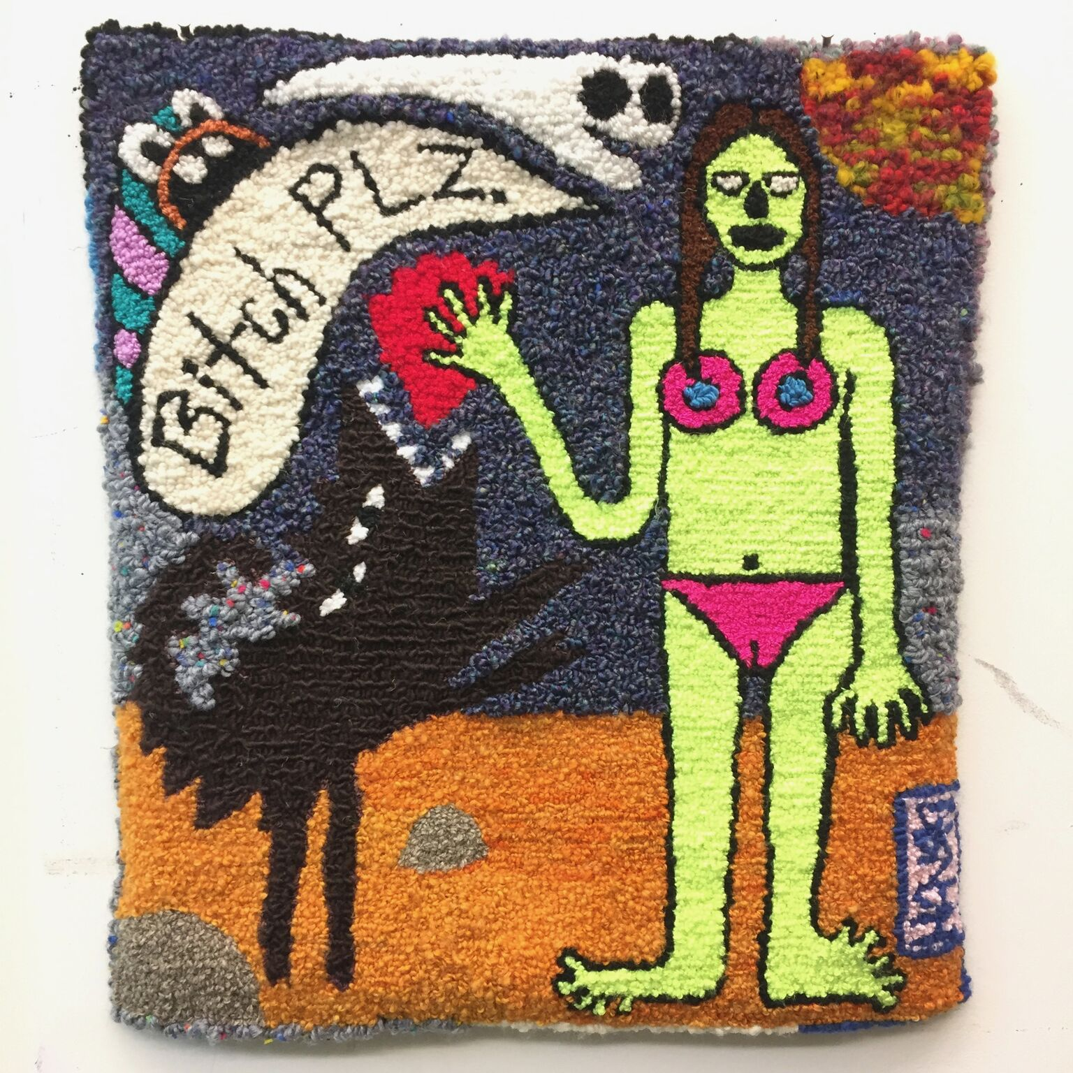 bitch PLZ  wool, acrylic, burlap  dimensions not recorded  2015