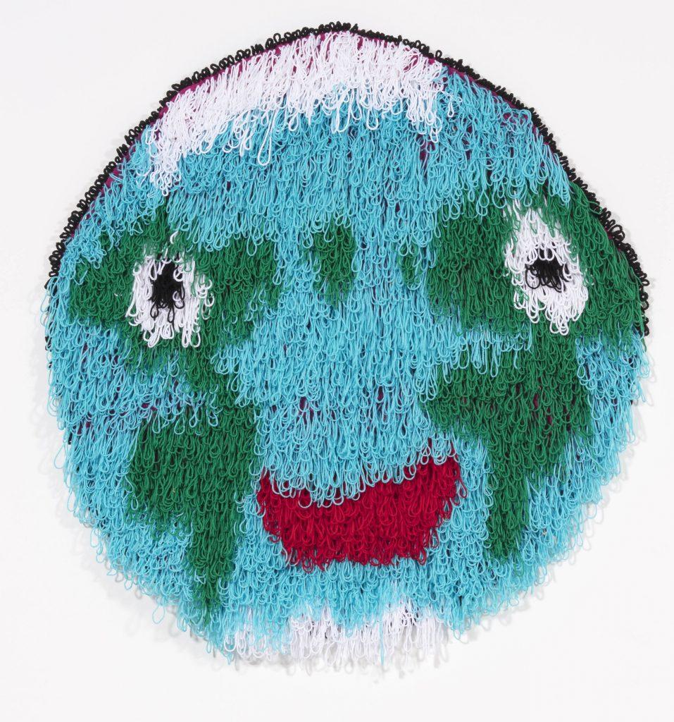 "Planet Earth  Acrylic, Burlap  56"" X 52""  2018"