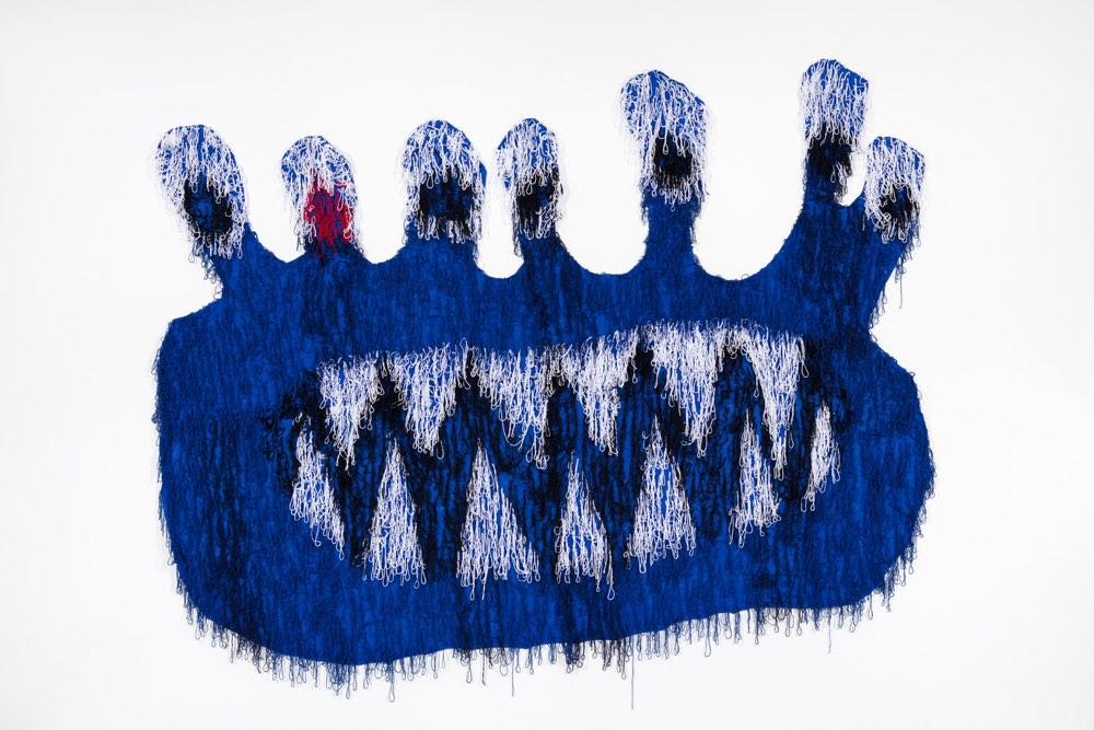 "Big Blue Alien  Acrylic, Burlap  111"" X 154""  2018"
