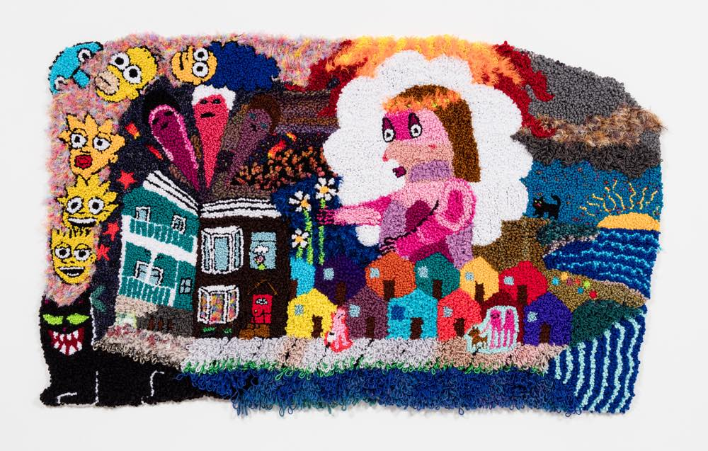 "East Coast Dream Girl  Wool, Acrylic, Polyester, Burlap  45"" X 71""  2018"