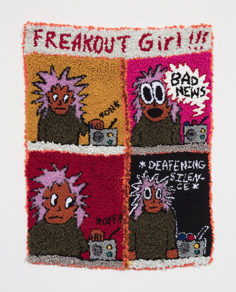 "Freakout Girl VS The News Cycle   Wool, acrylic, polyester and burlap  47"" x 37""  2019"